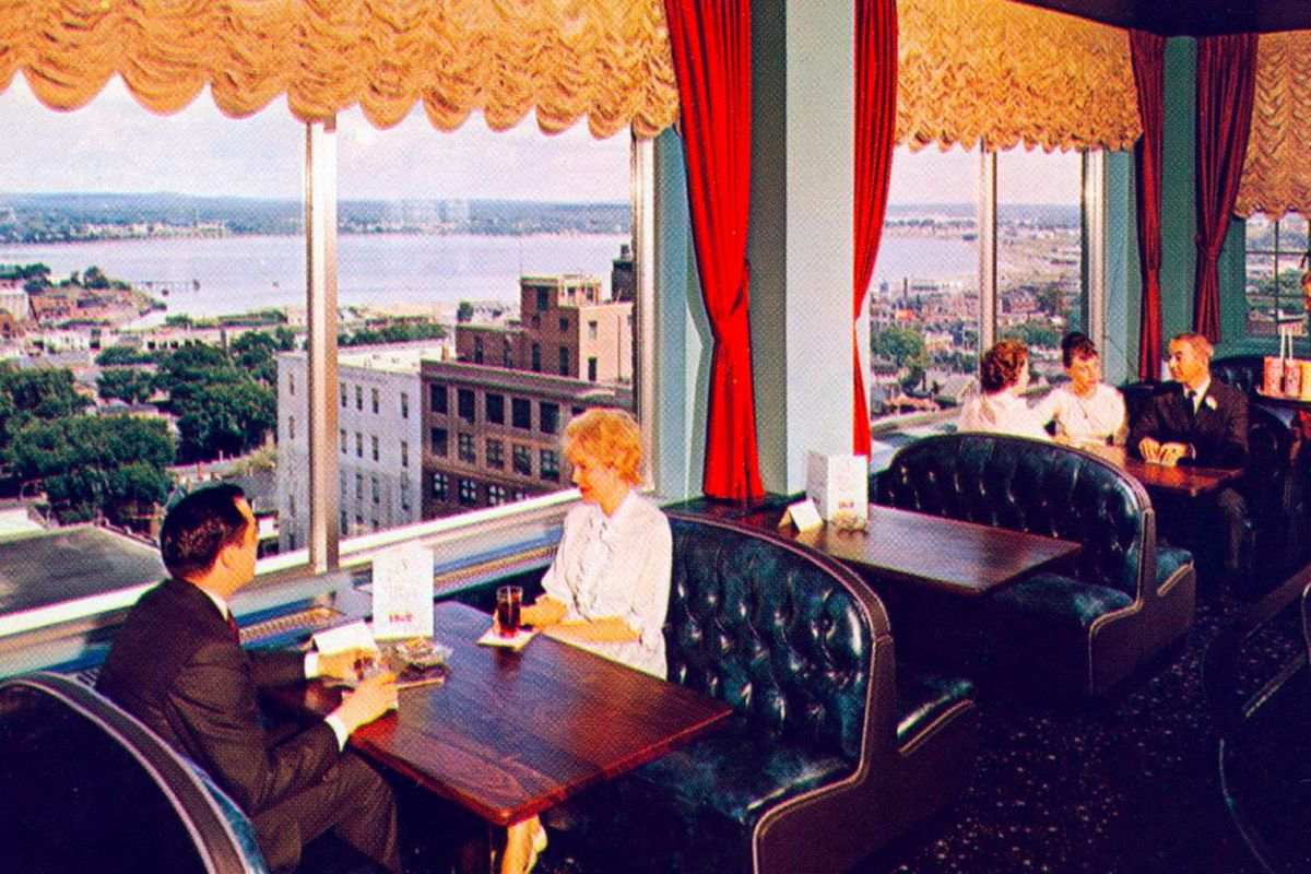 A vintage postcard of the Top of the East Lounge at the Eastland Park Hotel, which is being retained, but completely remodeled as part of the hotel's transformation to the Westin Portland Harborview.