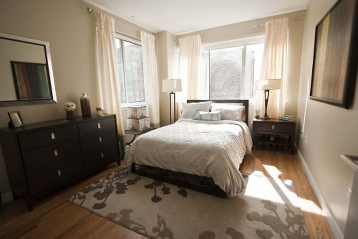 The master bedroom in a 2BR unit.