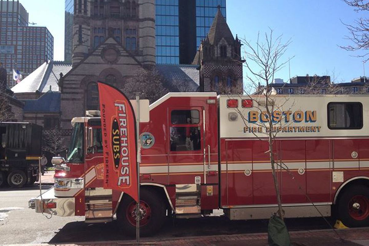 Firehouse Subs Back Bay hosted members of the Boston Fire Department after the 2014 bombing at the Boston Marathon. The shop is now closed.