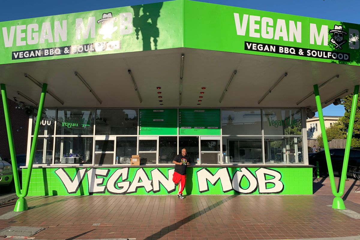 Toriano Gordon in front of his new permanent location of Vegan Mob