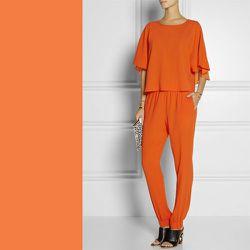 "Celosia Orange: <b>Tibi</b> crepe track pants, <a href=""http://www.net-a-porter.com/product/424027/Tibi/bibelot-crepe-track-pants"">$275</a>"