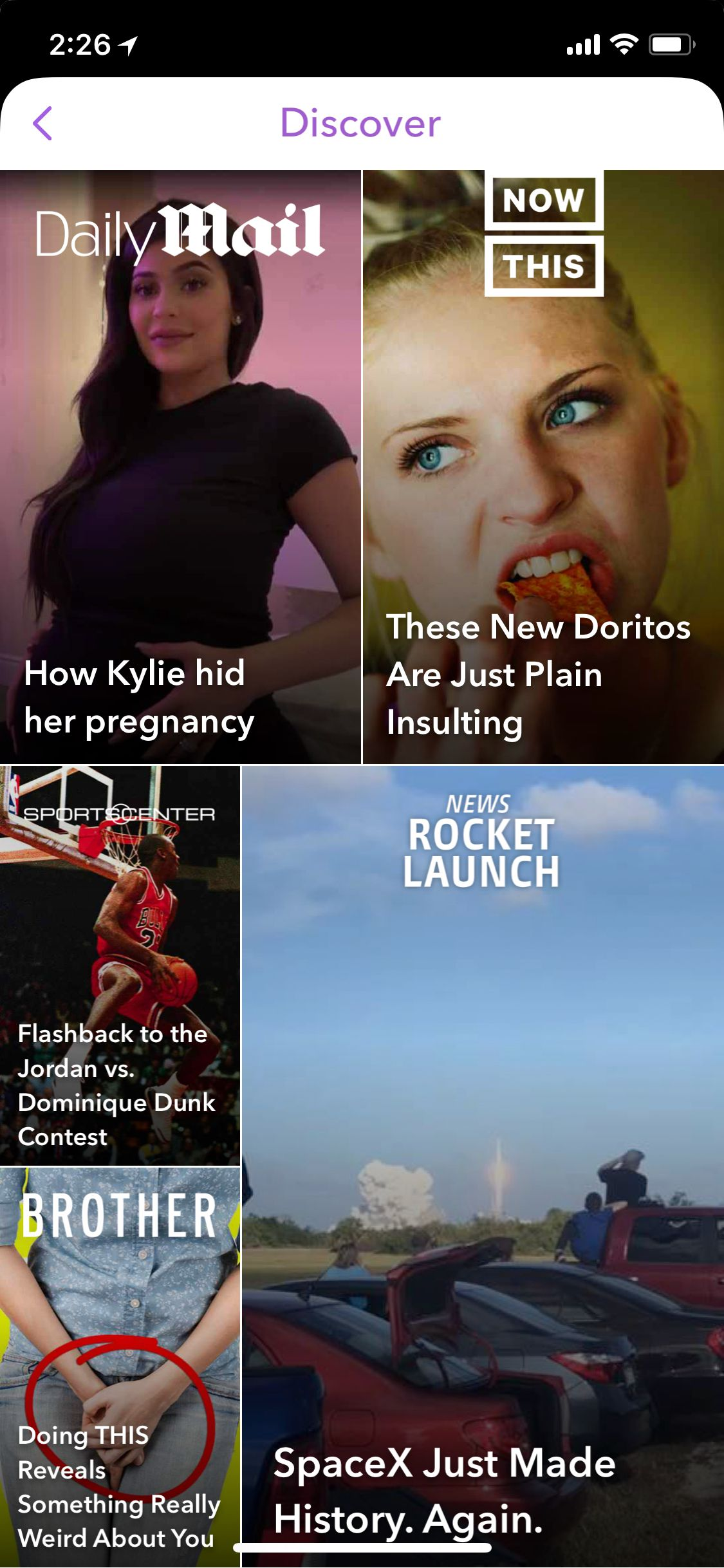 A picture of Snapchat's Discover section.