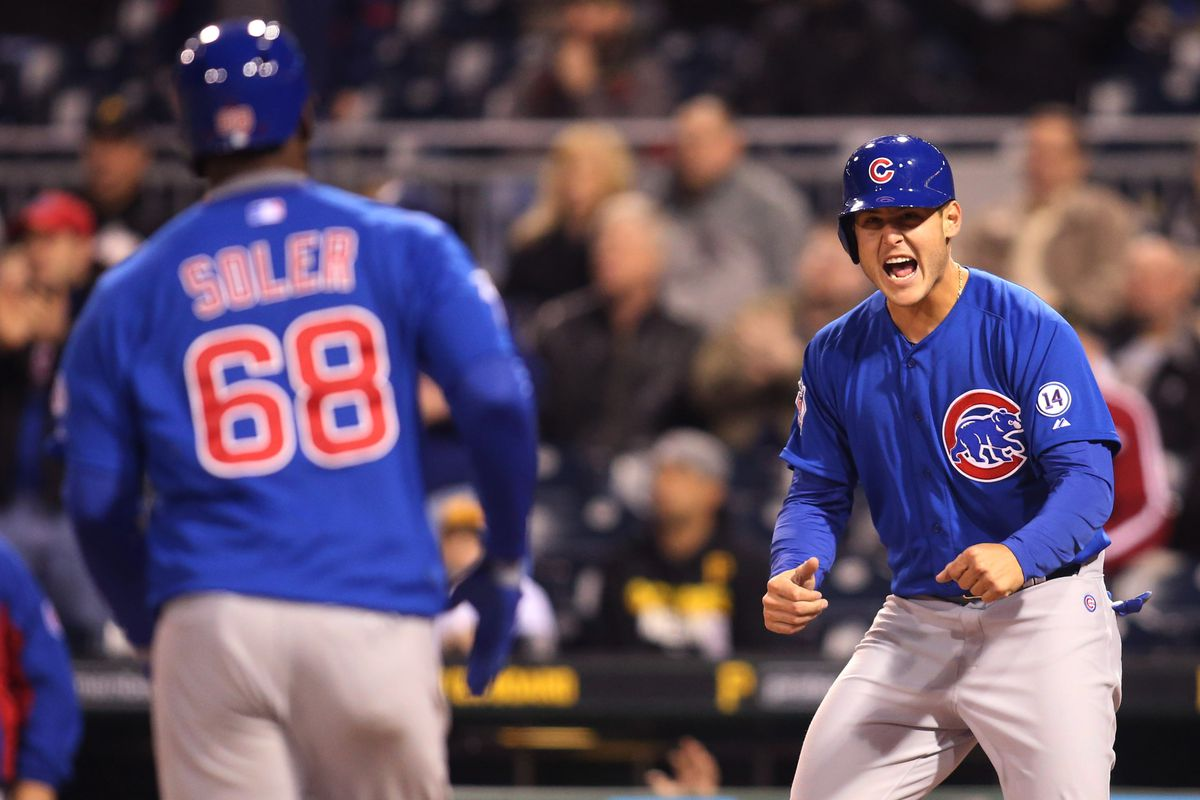 Combining walks and strikeouts, Jorge Soler and Anthony Rizzo end many plate appearances without a ball in play.