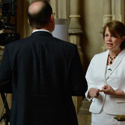 LDS Charities director Sharon Eubank speaks with media in London on Wednesday, when she addressed the All Party Parliamentary Group on Foreign Affairs in the United Kingdom's House of Lords.