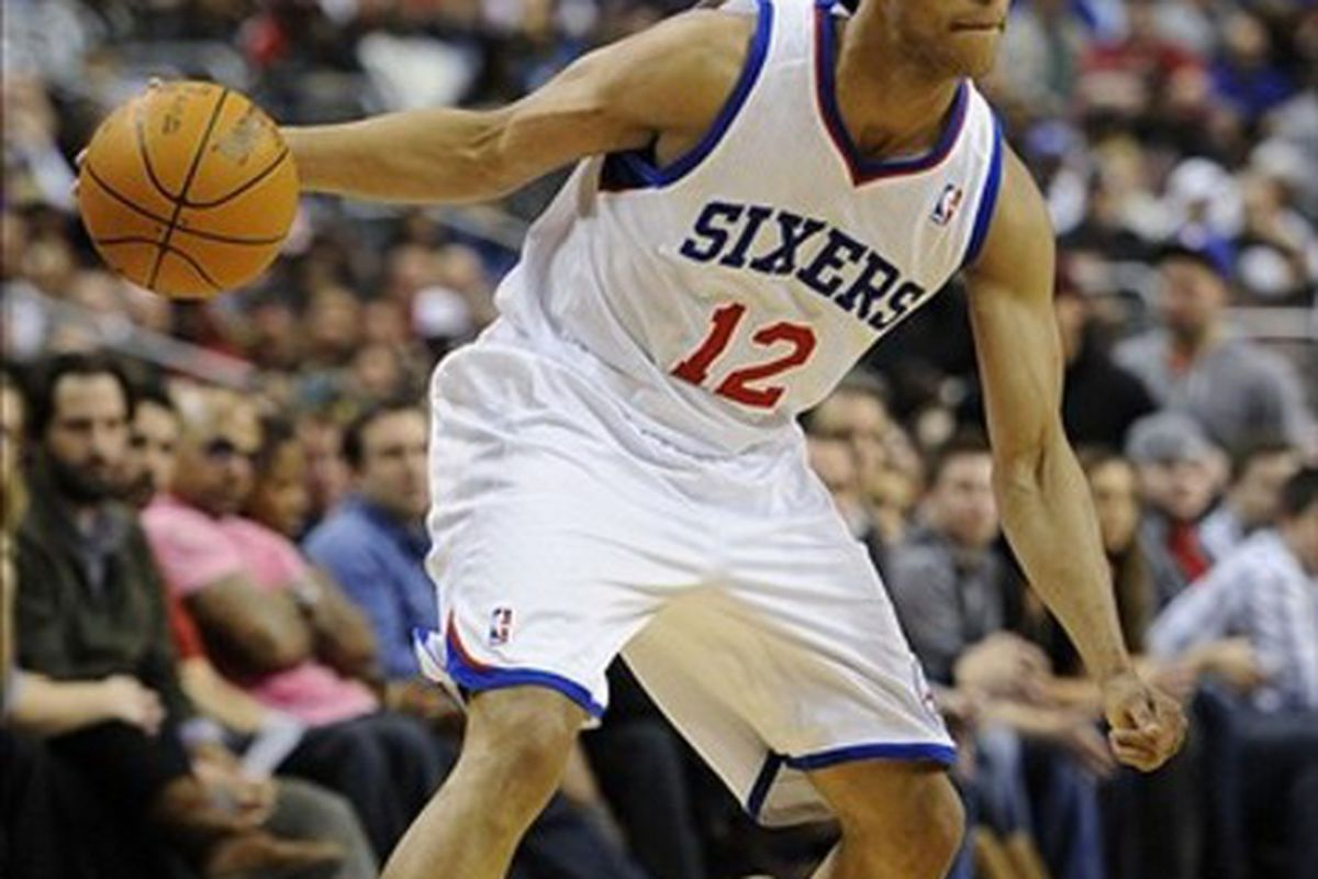 Feb 29, 2012; Philadelphia, PA, USA; Philadelphia 76ers guard Evan Turner (12) during the fourth quarter against the Oklahoma City Thunder at the Wells Fargo Center. The Thunder defeated the Sixers 92-88. Mandatory Credit: Howard Smith-US PRESSWIRE