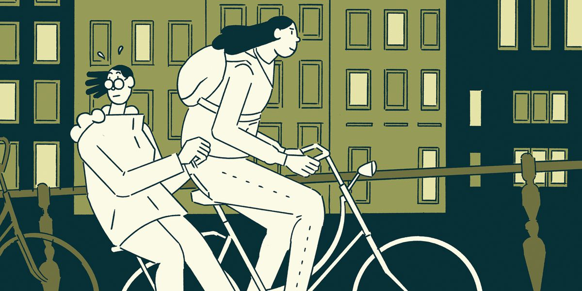 Sophie and Zena ride a bike together on the cover of The Contradictions, Drawn and Quarterly (2020).