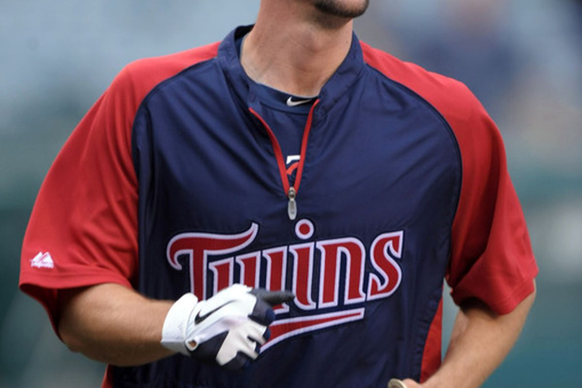 May 2, 2012; Anaheim, CA, USA; Minnesota Twins right fielder Clete Thomas (36) before the game against the Los Angeles Angels at Angel Stadium. Mandatory Credit: Kirby Lee/Image of Sport-US PRESSWIRE