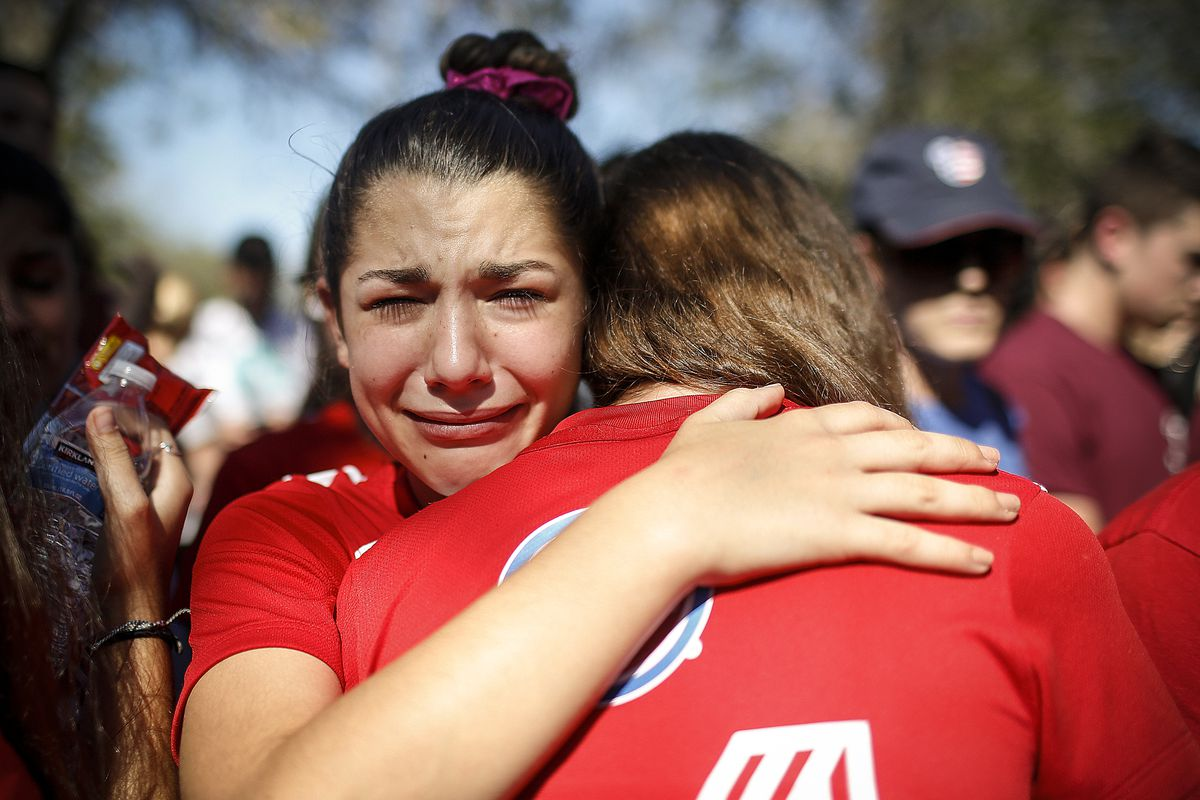 February 15: A student mourns the loss of her friend during a community vigil held for the victims of the shooting at Marjory Stoneman Douglas High School in Parkland, Florida. Read More. (Brynn Anderson/AP)