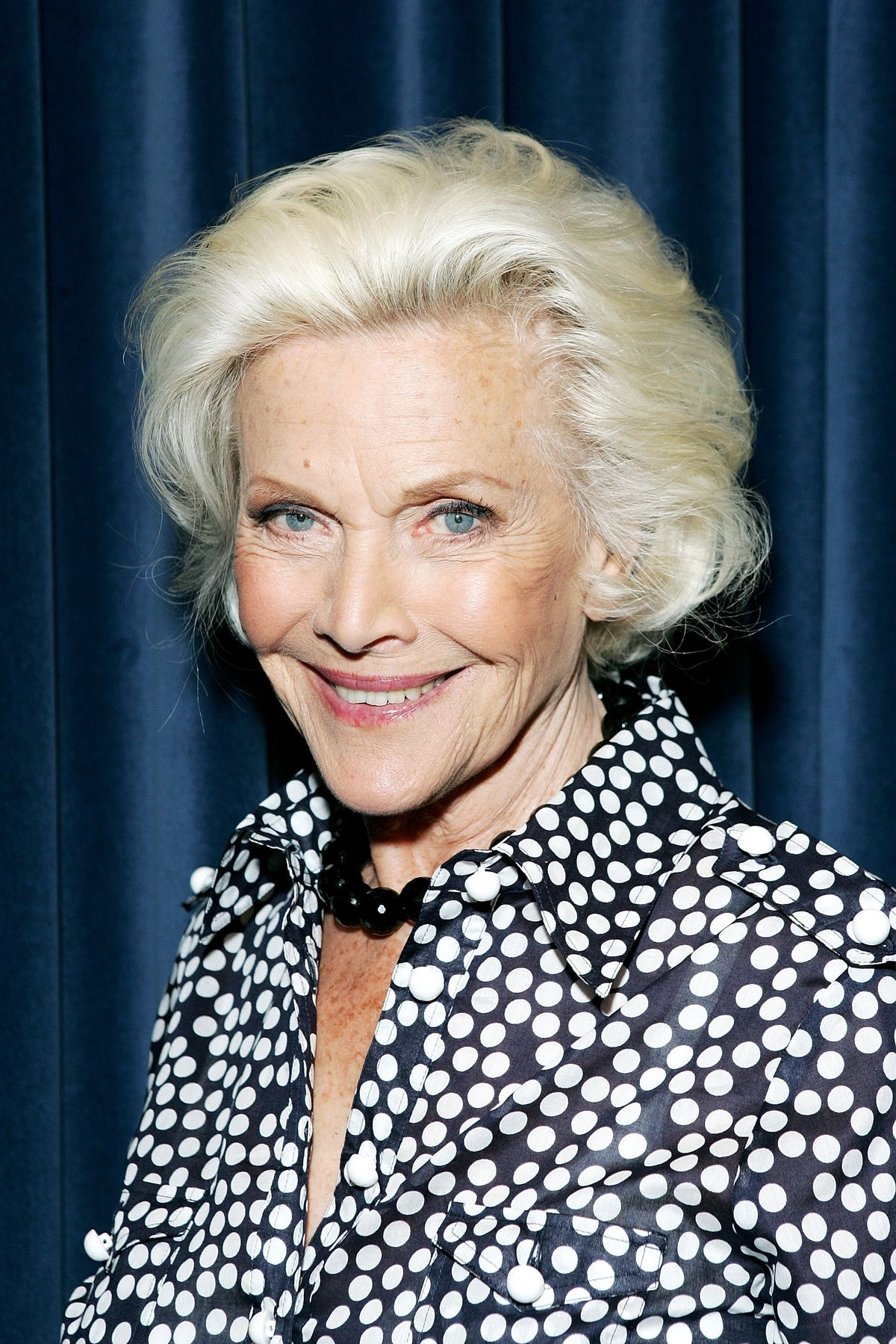 Actress and singer Honor Blackman poses for a photograph whilst recording her single 'The Star Who Fell From Grace' at Angel Studios in 2008 in London, England.