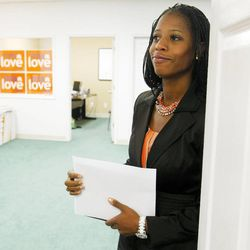 Saratoga Springs Mayor and Congressional candidate Mia Love waits to be announced at her press conference Monday, Oct. 1, 2012, about the cost of having Congressman Jim Matheson in office.