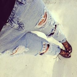 """""""[Distress denim is] comfortable, sexy, and super stylish! C'mon, legging season is coming to an end; everyone has to opt out of this eventually."""" One Teaspoon Awesome Baggies, $142"""