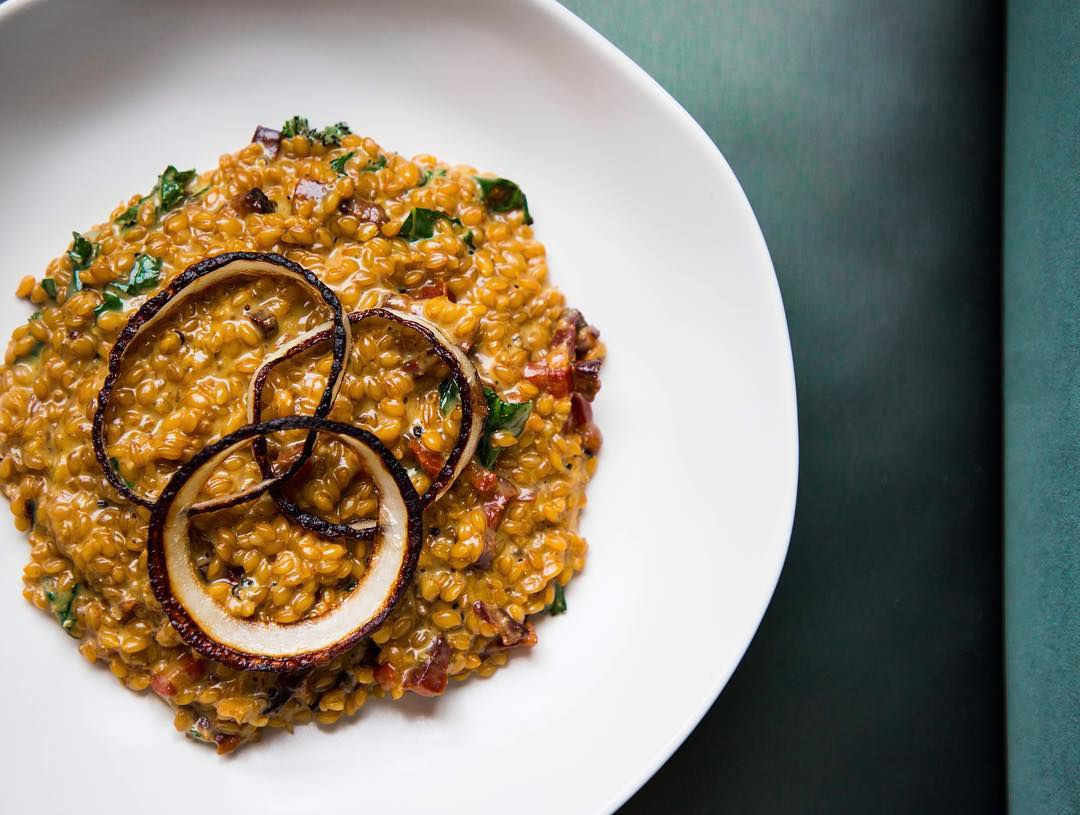 Piccolo Farro With Old Dominick Mash Onions Carbonara And Kale At The Gray Canary Photo Facebook