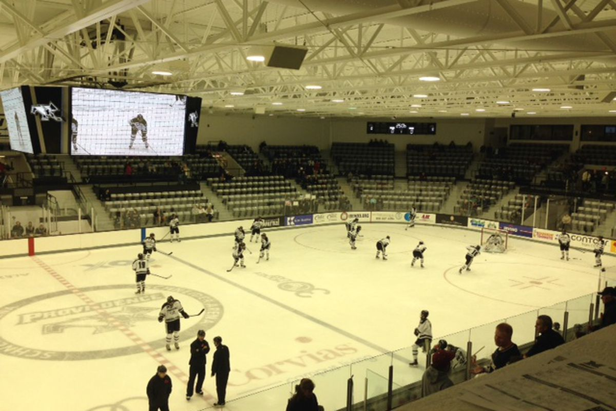 Providence players warm up before Saturday, October 26, 2013 game against Miami.