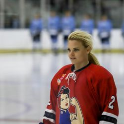 Former USA star forward Erika Lawler made her way out of retirement and returned to hockey as part of the Metropolitan Riveters this season. Here, Lawler lines up pre game before a NWHL showdown against the Buffalo Beauts on Nov. 4th, 2017 at HarborCenter in Buffalo, NY.
