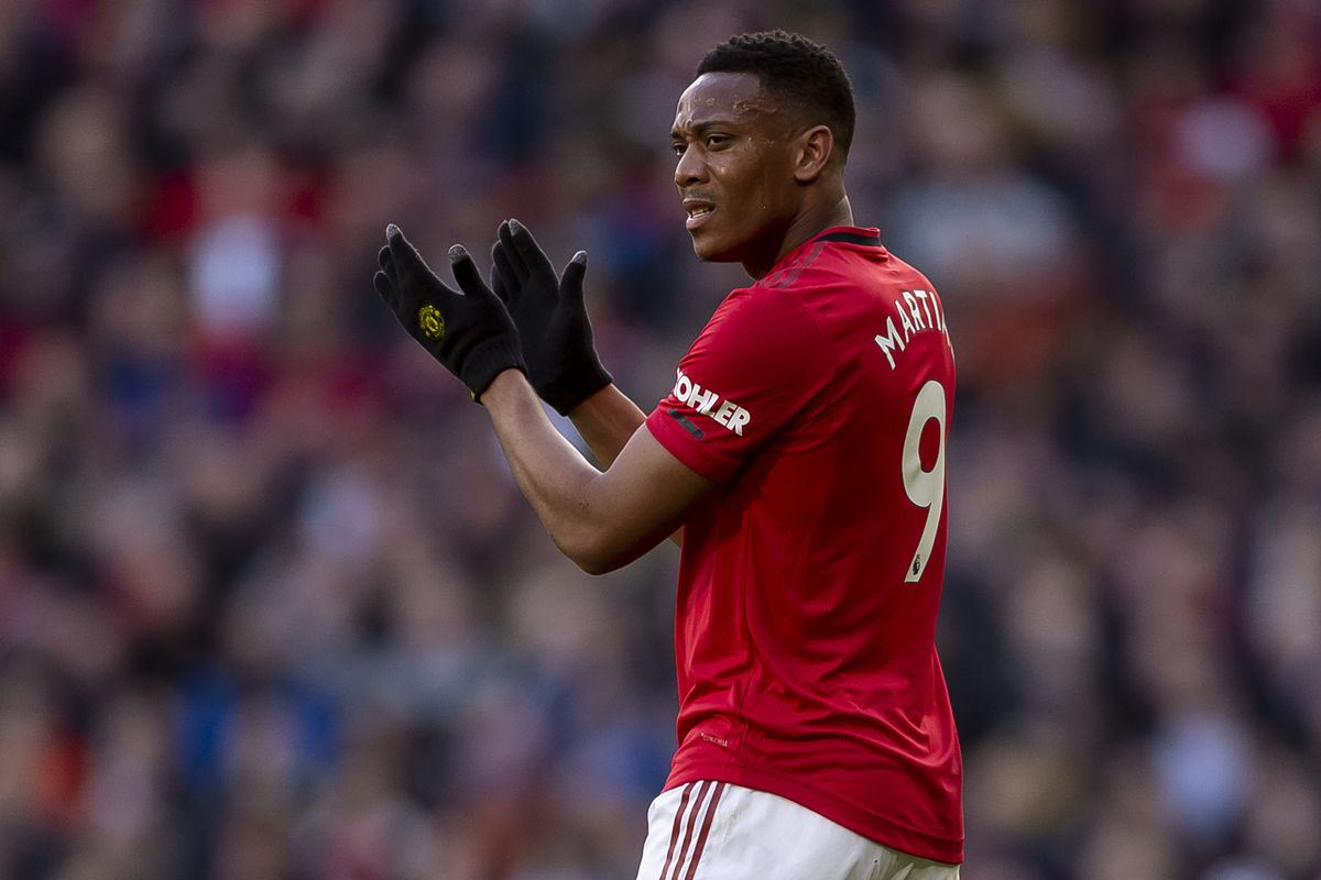 Anthony Martial of Manchester United during the Premier League match between Manchester United and Manchester City at Old Trafford on March 8, 2020 in Manchester, United Kingdom.