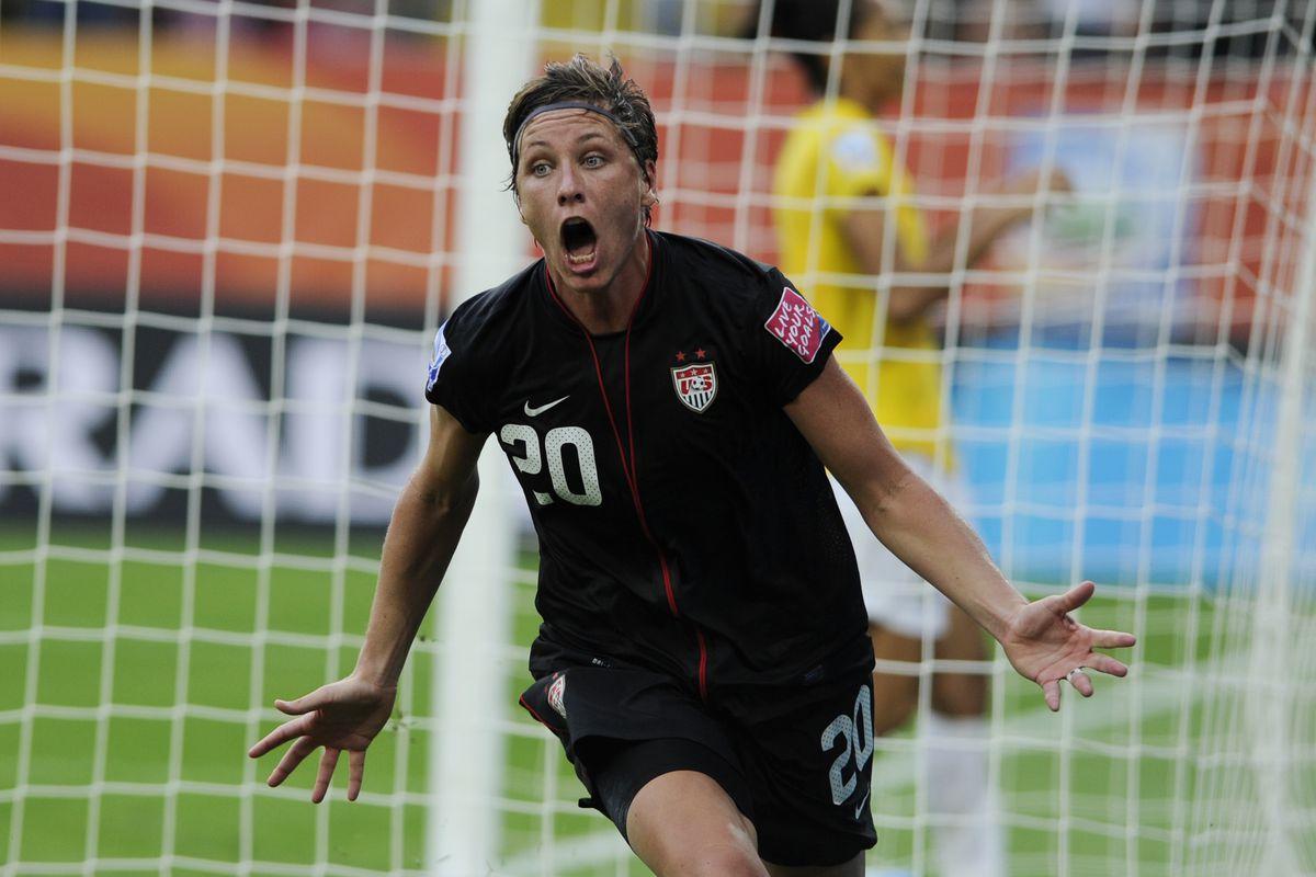 USA's striker Abby Wambach celebrates af