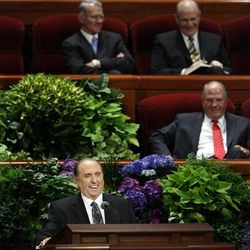 President Thomas Monson speaks during the morning session of the 182nd Semiannual General Conference for The Church of Jesus Christ of Latter-day Saints in the Conference Center in Salt Lake City on Saturday, Oct. 6, 2012.