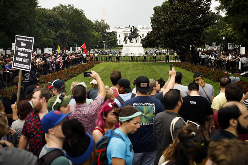 Thousands of counter-protesters rallied in Lafayette Square park, just north of the White House, outnumbering the alt-right.