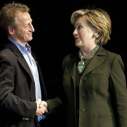 Utah Democratic Party Chairman Wayne Holland, left, greets Sen. Hillary Clinton, D-N.Y., as she arrives to speak in West Valley City. Clinton was in Utah to campaign for Democratic presidential candidate Sen. Barack Obama, D-Ill., and speak at a fundraiser for the Utah Democratic Party at the Utah Cultural Celebration Center on Saturday.