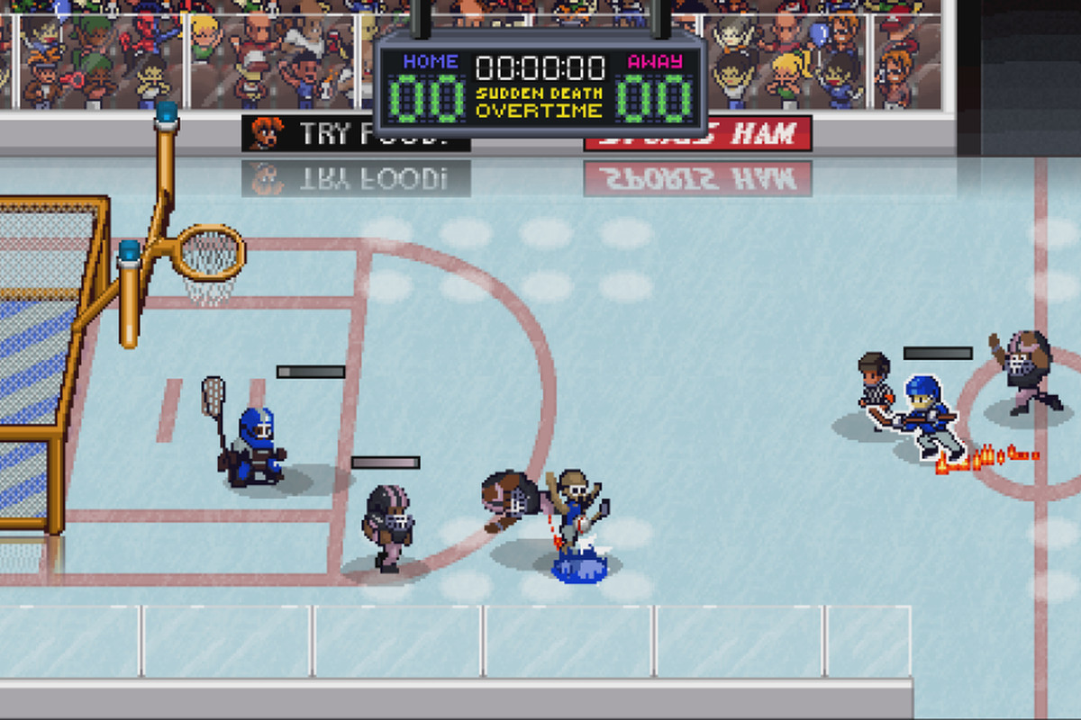 Six athletes from different sports on an ice hockey surface, facing a goal that is a combination of a soccer goal, basketball goal, and football goalposts.