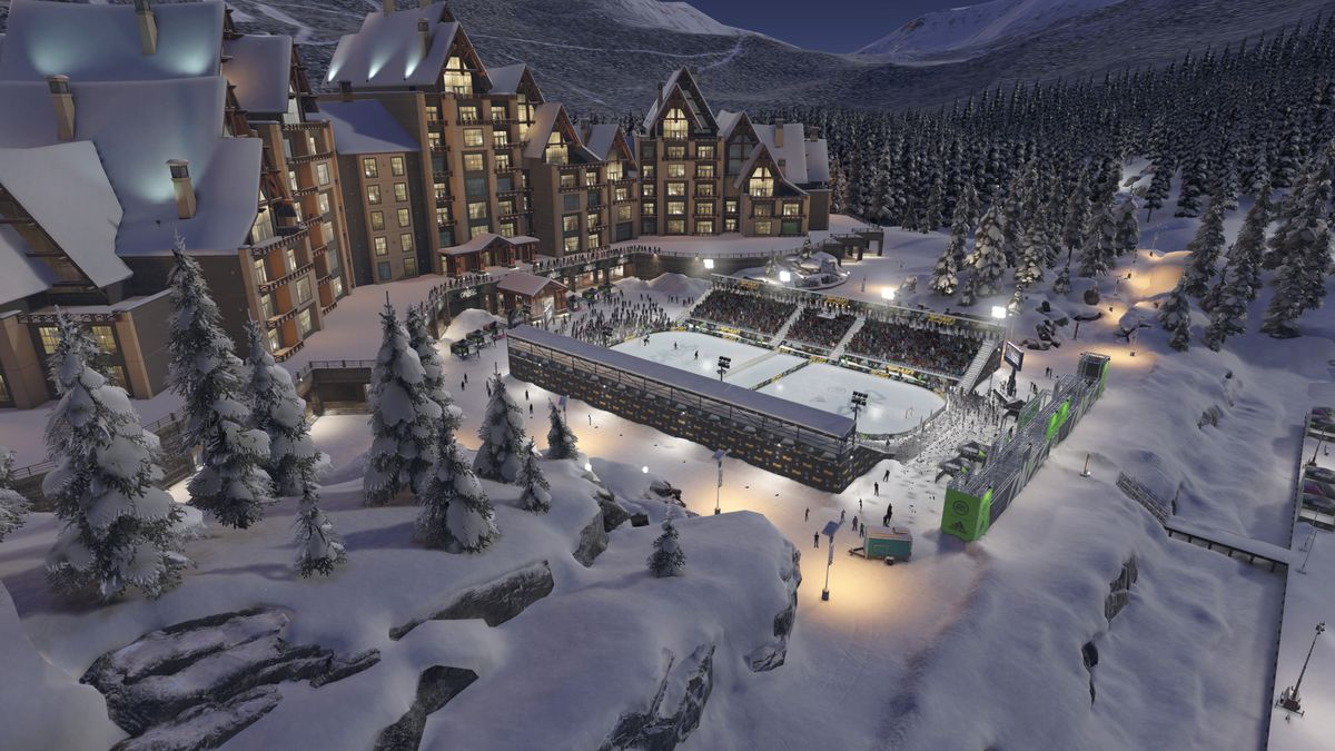 NHL 19 - wide shot of The Ring and the resort behind it in World of Chel's NHL Ones mode