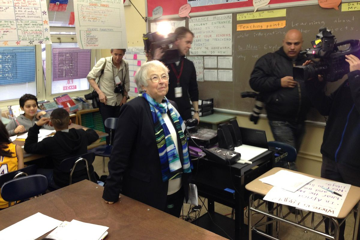 Chancellor Carmen Fariña in April visits I.S. 88, one of the few classroom tours where cameras were invited along with her. Fariña has preferred private meetings with school leaders and staff so far in her tenure.