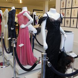 Vintage film costumes from Warner Bros. movies are on display in the women's ready-to-wear department.