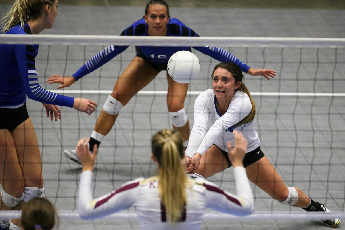 Pleasant Grove's Hannah Waddell digs during the 6A volleyball state championship at the UCCU Center in Orem on Saturday, Nov. 4, 2017.