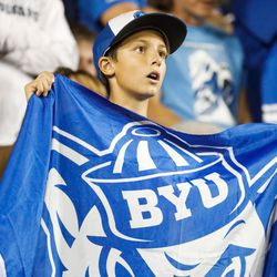 A fan reacts as BYU and Utah compete in an NCAA college football gameat LaVell Edwards Stadium in Provo on Saturday, Sept. 11, 2021. BYU won 26-17.