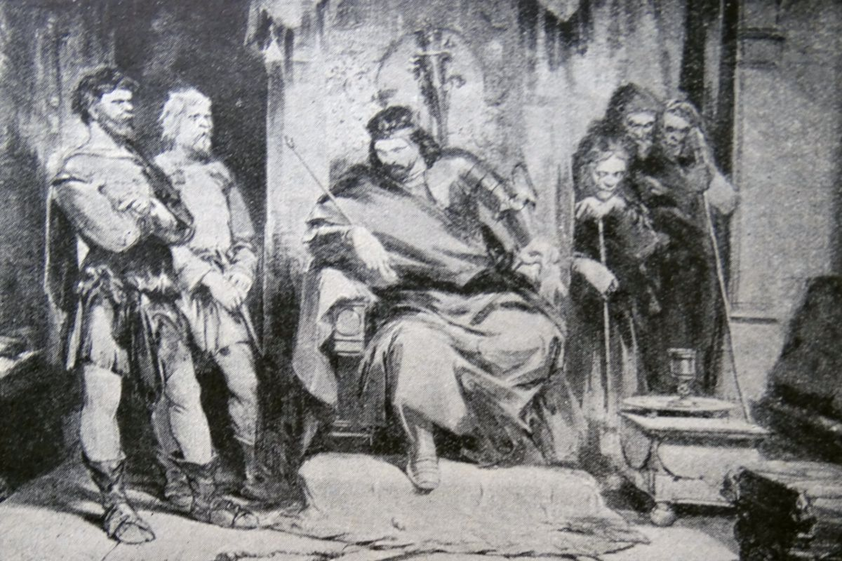 Engraving depicting Macbeth instructing the murderers, from William Shakespeare's play Macbeth