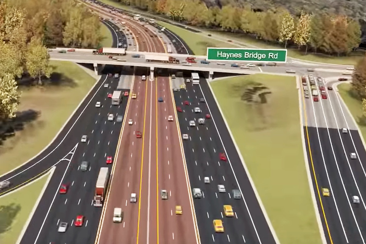 A rendering of the interstate, with four public lanes in each direction and two express lanes in each direction.