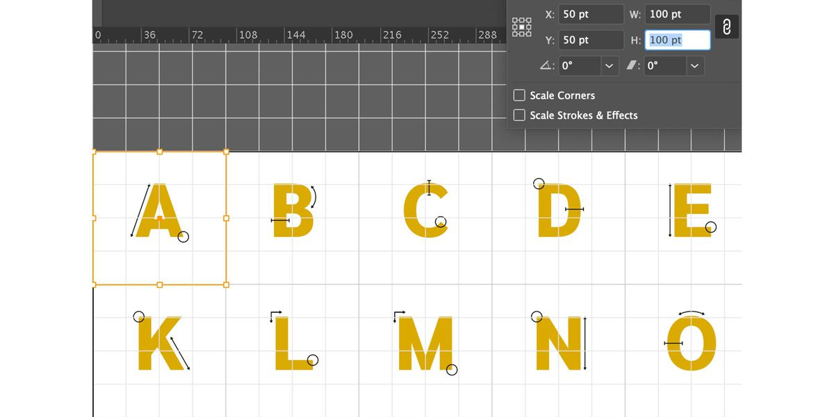 Close up of Adobe Illustrator artboard with drop cap letters and Transform panel that is set up to hold each drop cap in a 100 pixel by 100 pixel box