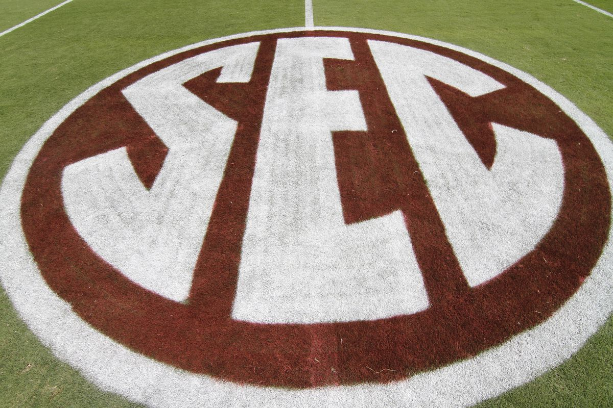 Sep 8, 2012; College Station, TX, USA; SEC logo on the field before a game between the Texas A&M Aggies and Florida Gators at Kyle Field. Mandatory Credit: Brett Davis-US PRESSWIRE