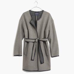 "Madewell leather-tipped wrap coat, <a href=""https://www.madewell.com/madewell_category/JACKETSANDOUTERWEAR/Outerwear/PRDOVR~B2158/B2158.jsp"">$328</a>"