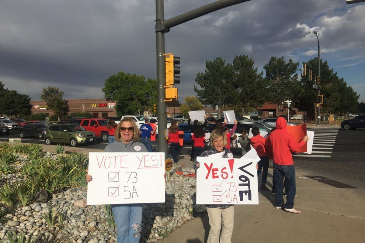 Aurora teachers campaign for state education tax measure 73 and Aurora school's local tax measure 5A.