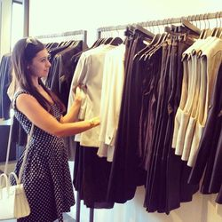 Here's Marta scanning the racks for the perfect blazer.