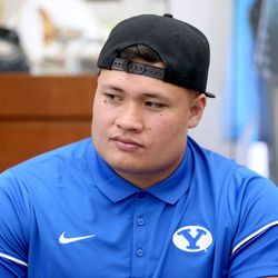 Defensive lineman Handsome Tanielu answers questions during BYU Football Media Day at BYU Broadcasting in Provo on Friday, June 23, 2017.