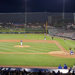 The last game when the Cubs had fans in attendance, March 11. Yu Darvish pitches against the Padres in front of 11,779 at Sloan Park in Mesa, Arizona