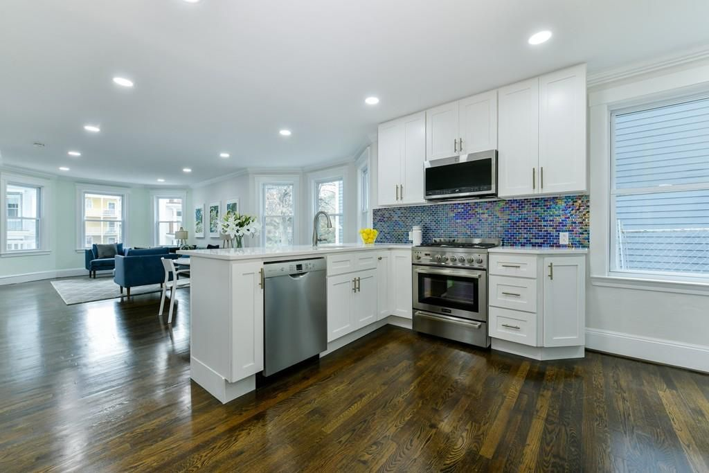 An open kitchen-dining room area.