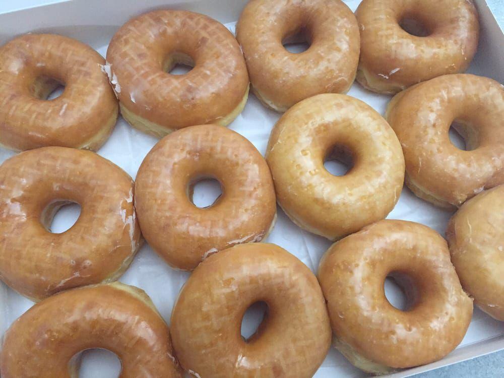 Glazed doughnuts at KC Donuts
