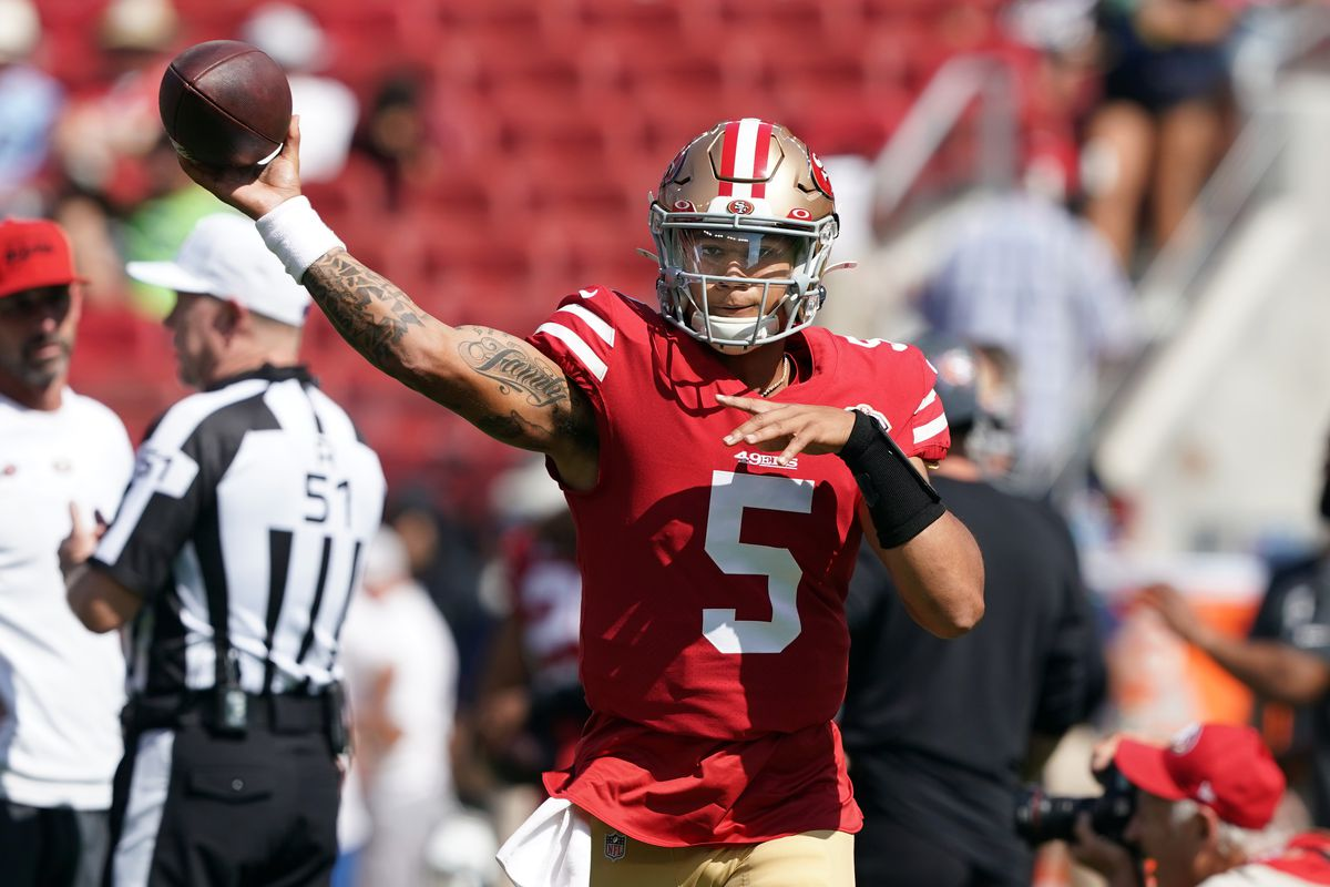 an Francisco 49ers quarterback Trey Lance (5) warms up before the game against the Seattle Seahawks at Levi's Stadium.