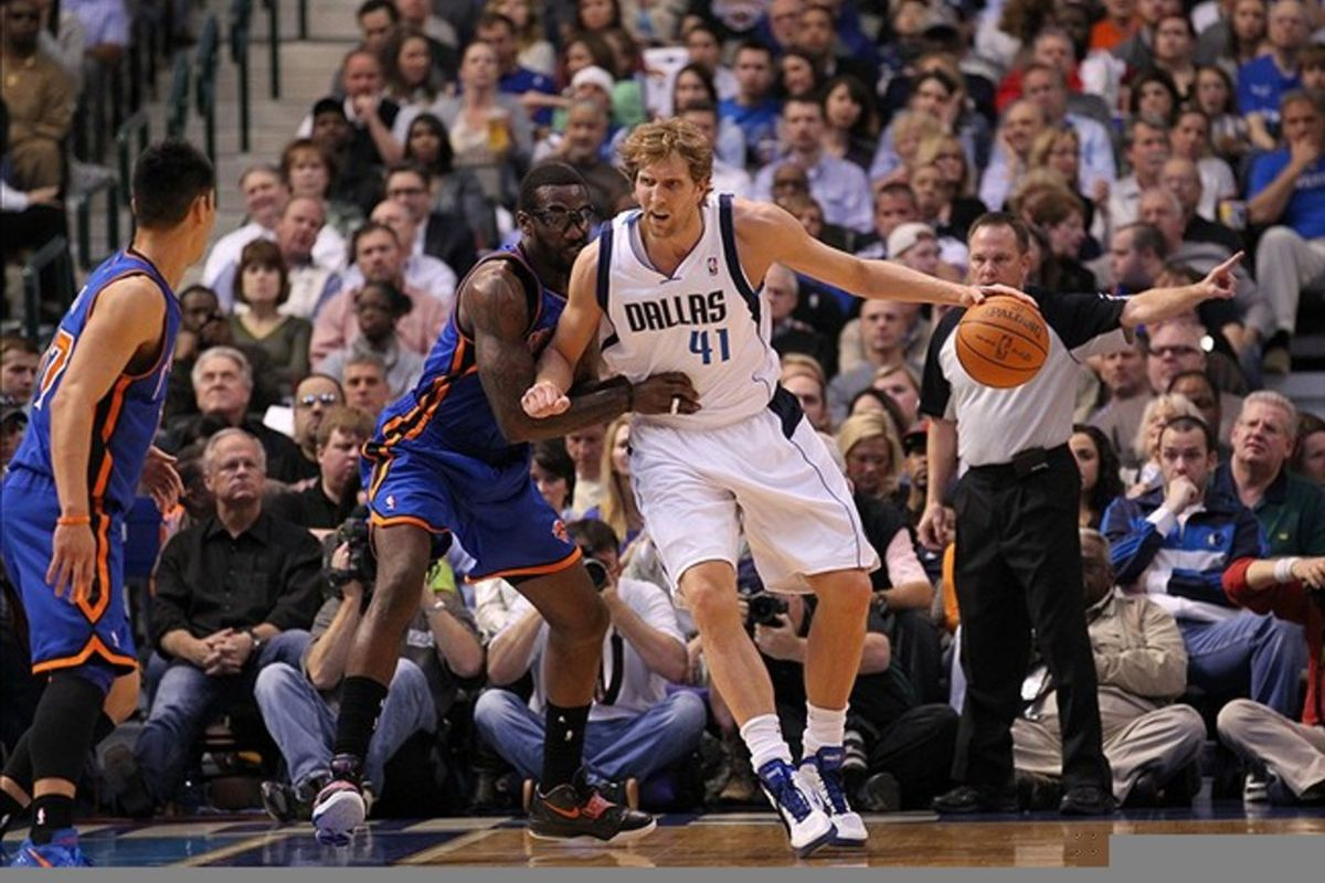 Mar 6, 2012; Dallas, TX, USA; Dallas Mavericks forward Dirk Nowitzki (41) in the post against New York Knicks forward Amar'e Stoudemire (1) in the first quarter at American Airlines Center.  Mandatory Credit: Matthew Emmons-US PRESSWIRE