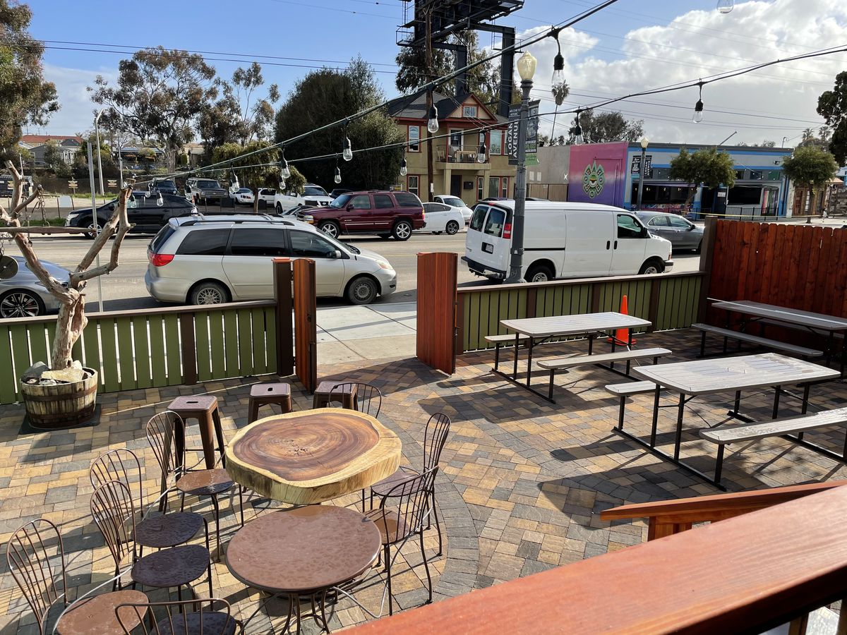 View of the front dining patio at Cafe Califas in Barrio Logan