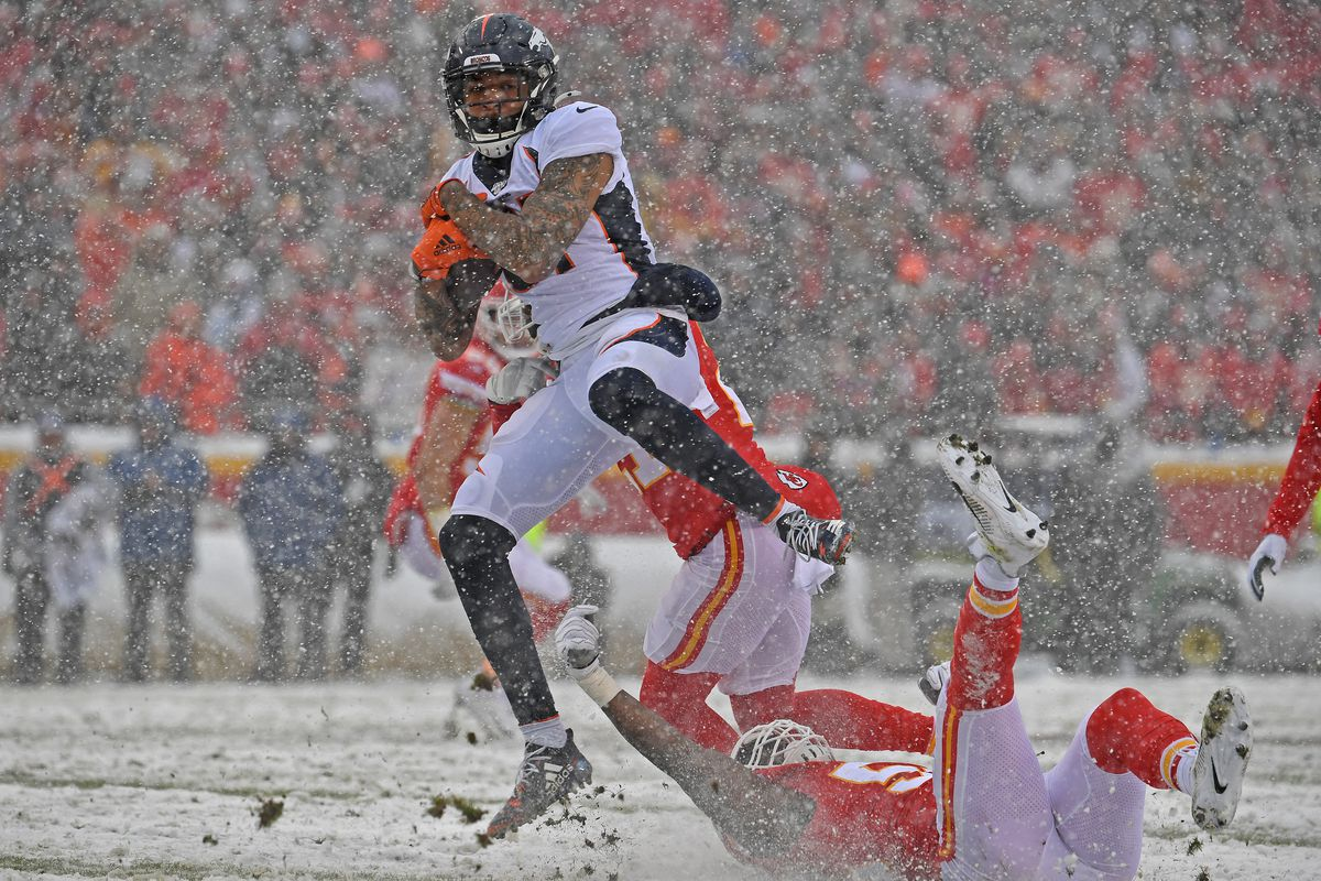 Wide receiver Tim Patrick of the Denver Broncos catches a pass against the Kansas City Chiefs during the first half at Arrowhead Stadium on December 15, 2019 in Kansas City, Missouri.