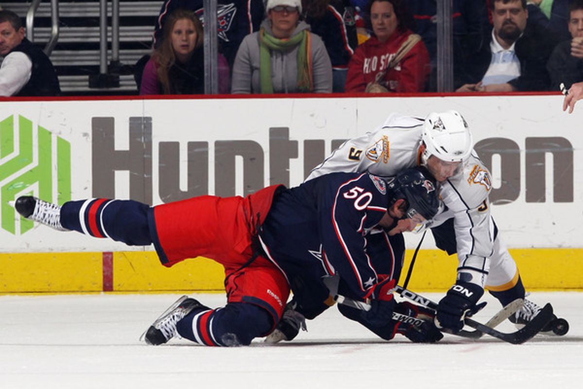 Antoine Vermette was tops on the Jackets for winning faceoffs in '10-'11. (Photo by Bruce Bennett/Getty Images)