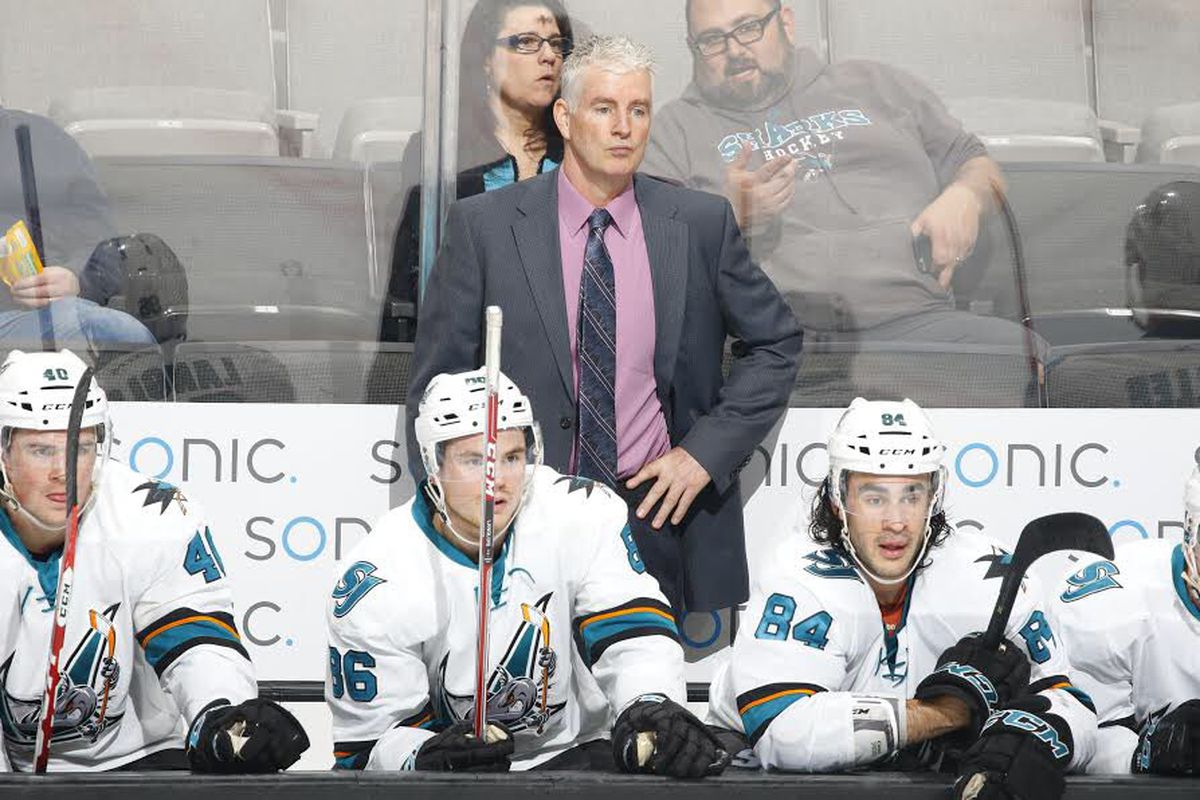 San Jose Barracuda head coach Roy Sommer looks on from the bench during Wednesday night's game at the SAP Center where the Barracuda defeated the Ontario Reign 4-2 for Sommer's 637th AHL win. (Twitter.com/theahl)