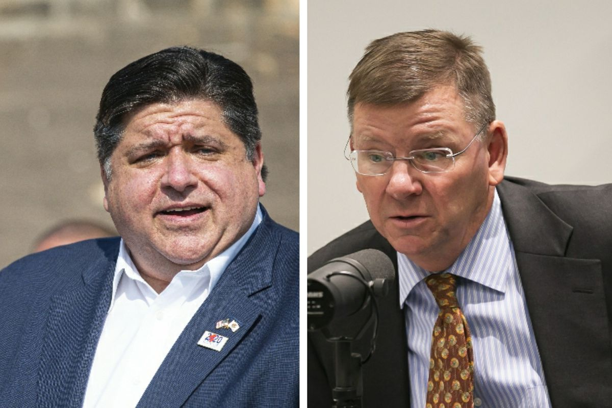 Gov. J.B. Pritzker, left, last month; Laurence Msall, president of the Civic Federations, right, in 2019.