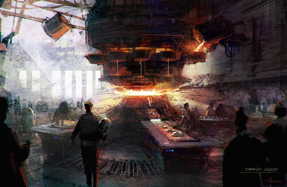 Light pours from an open ceiling into a melting area, and guests stand at long tables to assemble their new droids.