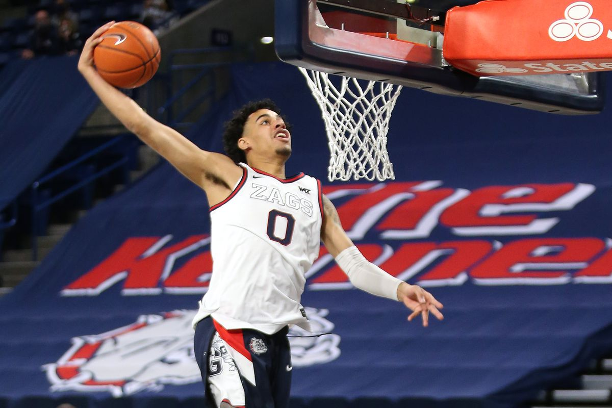 Julian Strawther of the Gonzaga Bulldogs warms up prior to the game against the Loyola Marymount Lions at McCarthey Athletic Center on February 27, 2021 in Spokane, Washington. Gonzaga defeats Loyola Marymount 86-69.