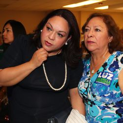 Salt Lake City mayoral candidate Luz Escamilla watches election results roll in with her mother, Luz de la Rosa, at a primary election party at the Utah State Fairpark in Salt Lake City on Tuesday, Aug. 13, 2019.